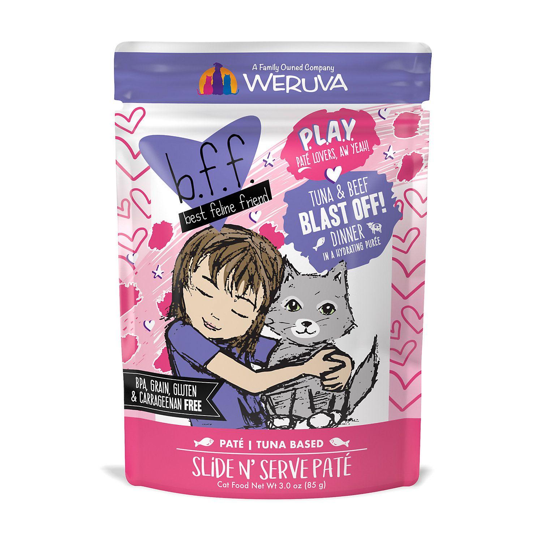 B F F P L A Y Blast Off Tuna Beef Dinner In A Hydrating Puree Wet Cat Food 3 Oz Case Of 12 Cat Food Tuna Bff