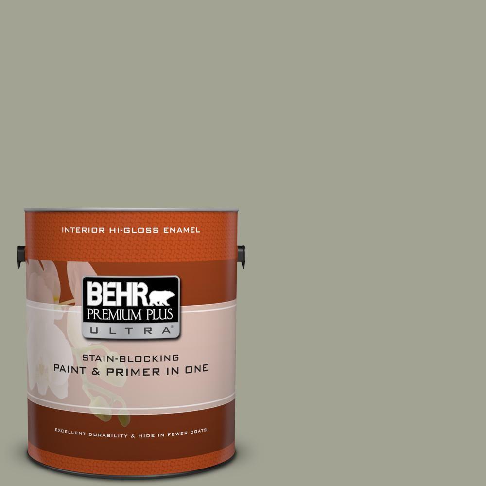 BEHR Premium Plus Ultra 1 gal. #hdc-NT-01 Woodland Sage High-Gloss Enamel Interior Paint