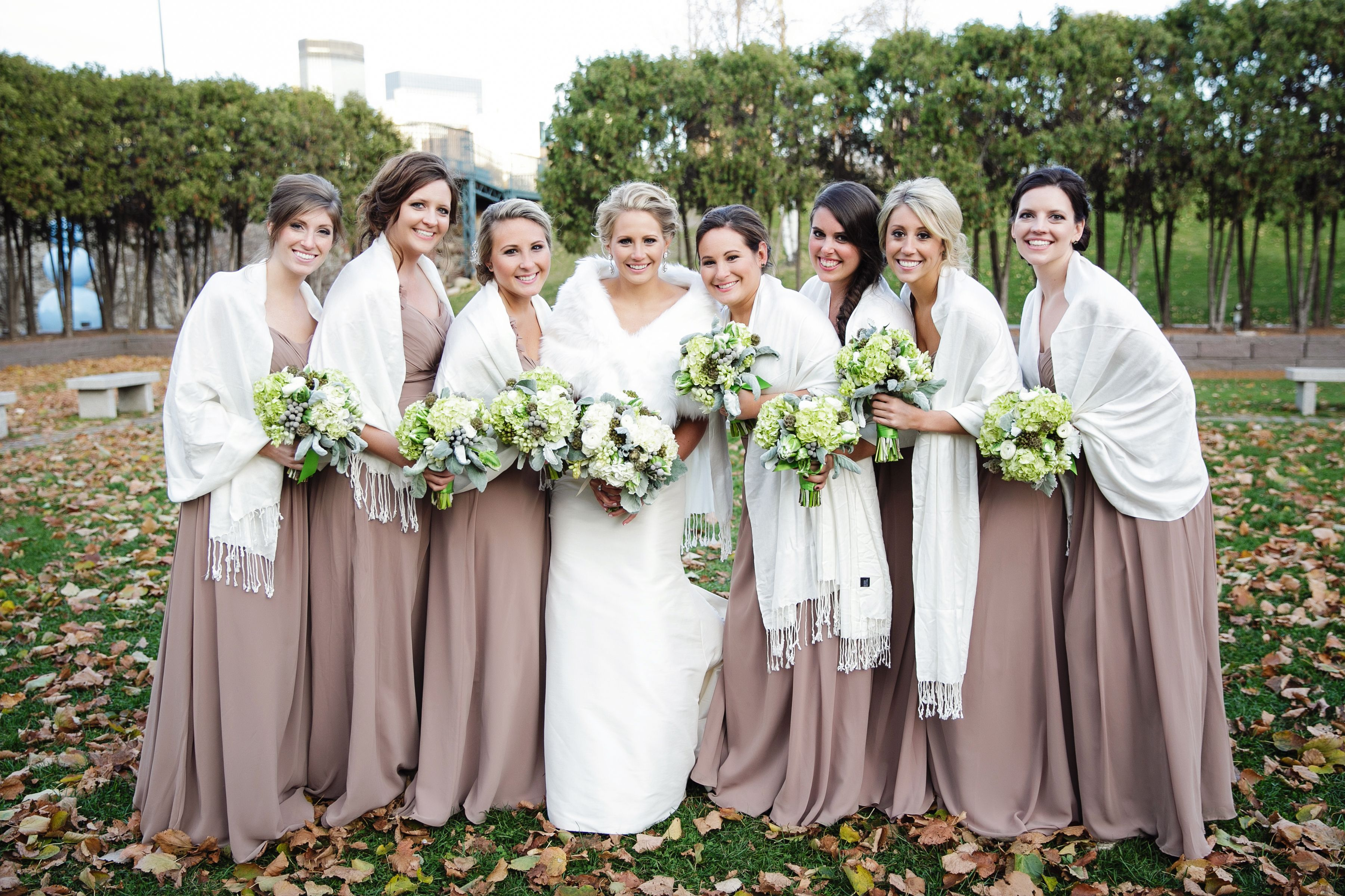 Love how the bridesmaids have matching shawls taupe bill levkoff love how the bridesmaids have matching shawls taupe bill levkoff bridesmaid dresses ombrellifo Choice Image