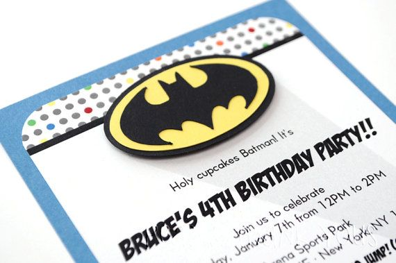 Batman Invitation for Boys Superhero or Comic Book Birthday Party