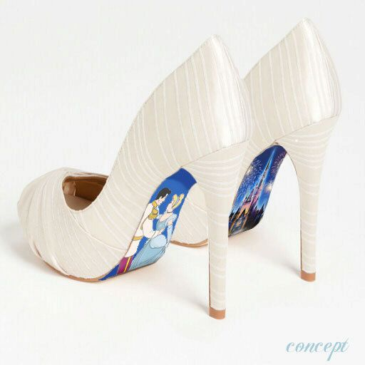 OH MY GOODNESS!!! Custom hand painted Cinderella's Castle heels. $75.00, via Etsy.