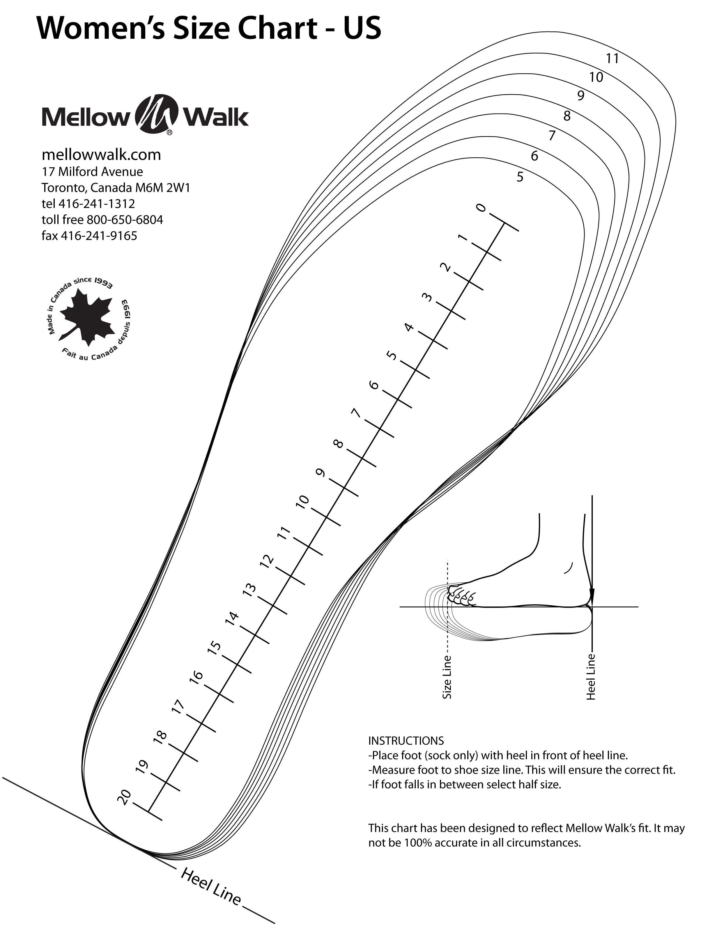 Printable Men Shoe Size Chart Templates