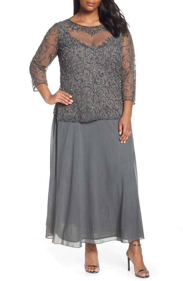 53ae9efdb5c Plus Size Women s Pissaro Nights Beaded Mesh Mock Two-Piece Gown ...