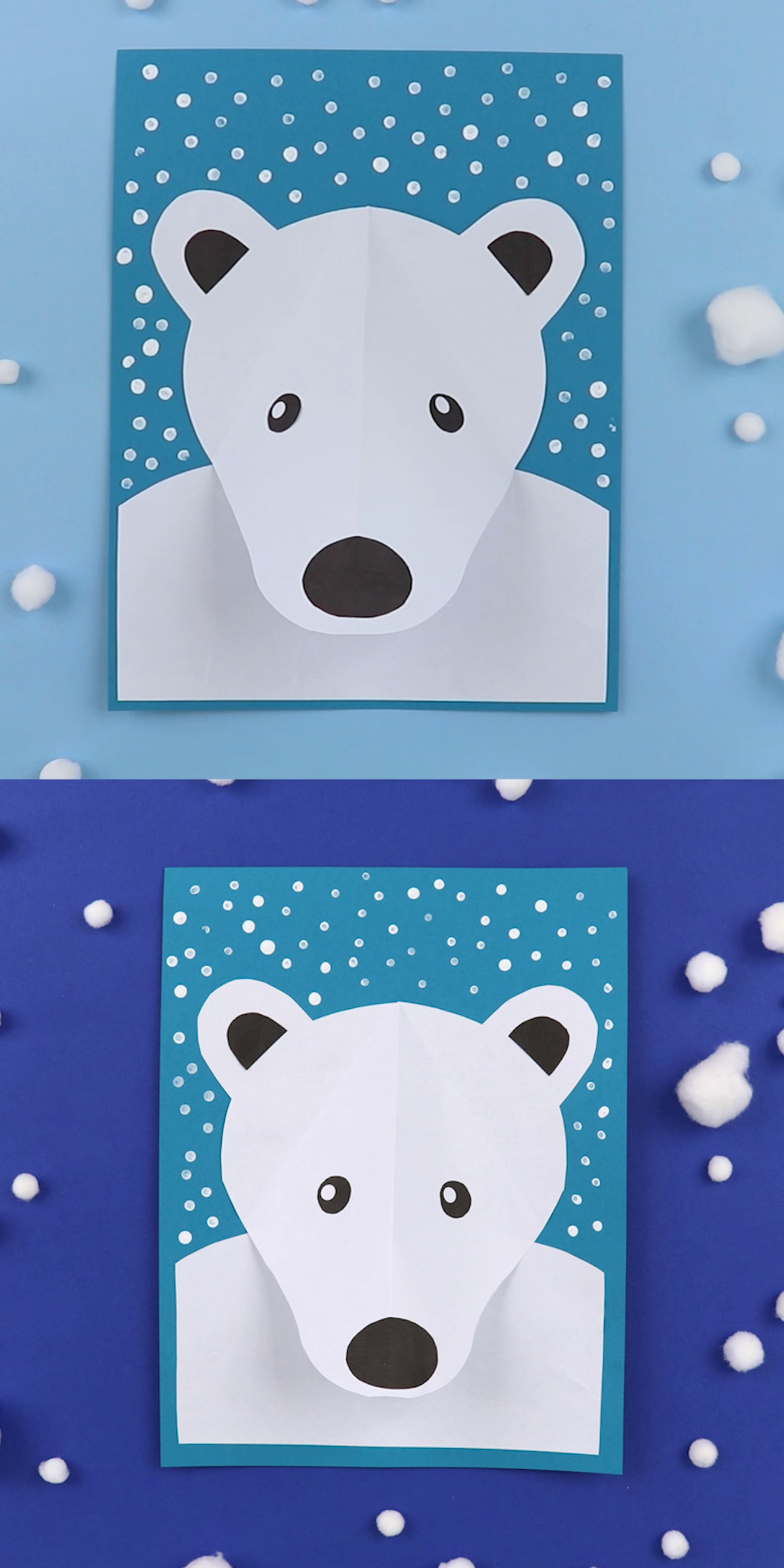 3D Polar bear portrait 3D polar bear paper craft for kids Create a polar bear portrait with a popout nose surrounded by falling snow made from Qtip dots Printable templat...