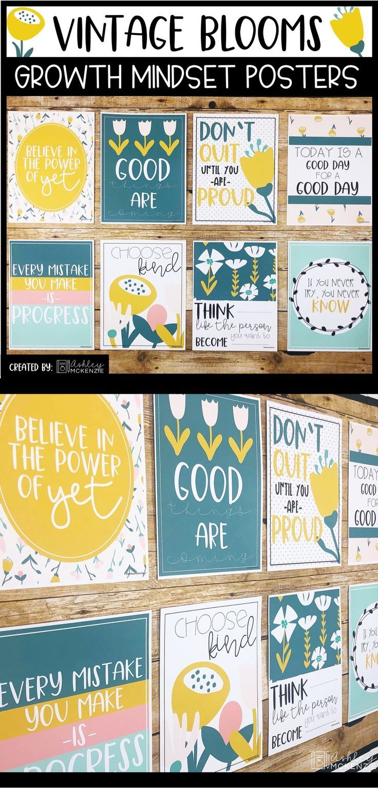 Floral Growth Mindset Posters - Vintage Blooms #elementaryclassroomdecor