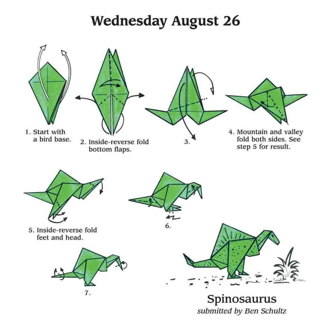 How To Make An Easy Origami Paper Dinosaur – Video Tutorial ... | 1113x1106