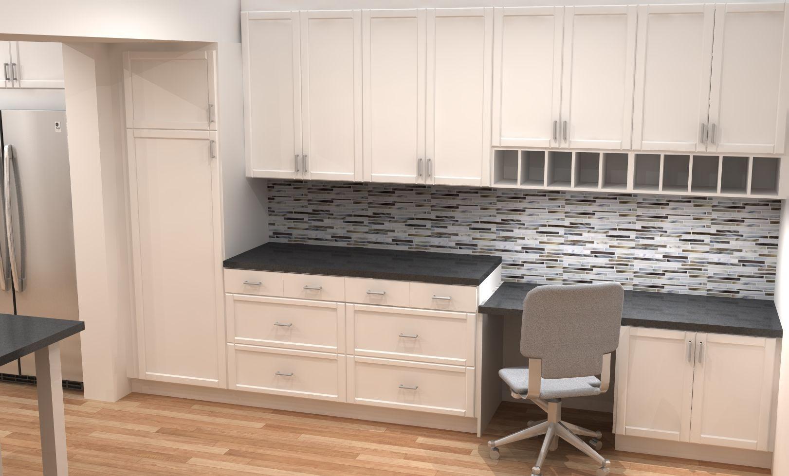 Desk Area In White Modern ADEL Shaker IKEA Kitchen