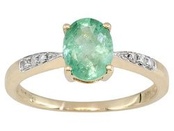 Russian Emerald 1.25ct With White Diamond Accents .05ctw 14k Yellow Gold Ring Web Only CGW-222 ERV $396.00 SALE PRICE $259.99