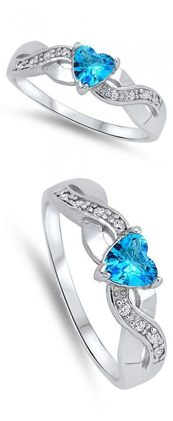 Heart Blue Simulated Topaz Halo Infinity Promise Ring .925 Sterling Silver bRWc8
