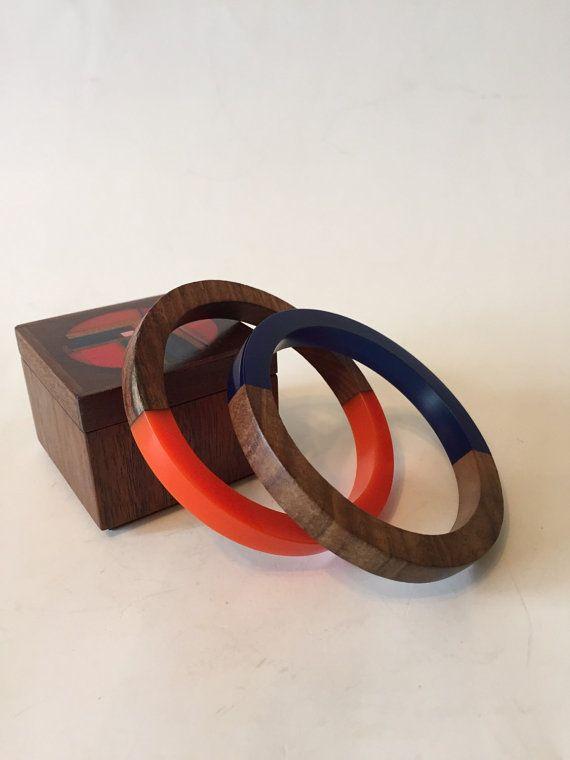 2 Mod Retro Resin And Wood Bangle Bracelet by modPug on Etsy
