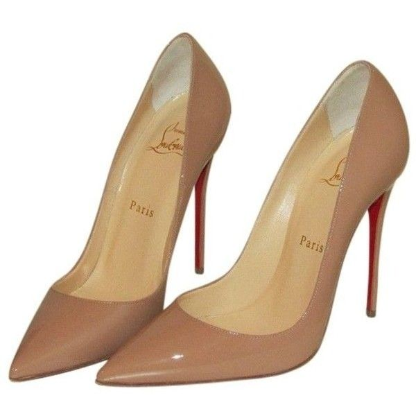 3aec0bde2600 Pre-owned Christian Louboutin So Kate 120 Nude Patent Pumps ❤ liked on Polyvore  featuring shoes