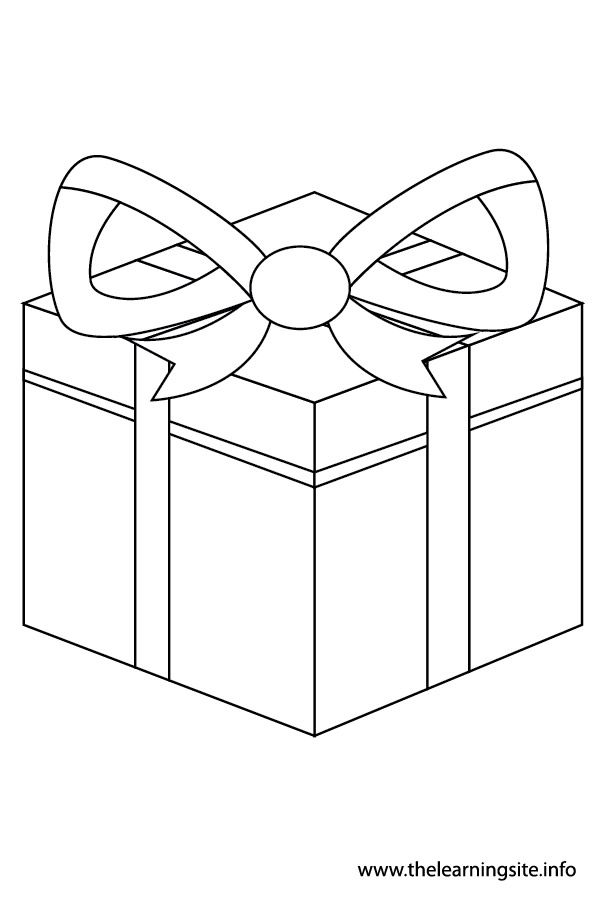 Coloring Page Outline Christmas Present