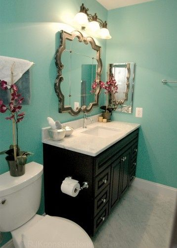Hallway Bathroom - turquoise walls, chocolate vanity, orchid accents ...