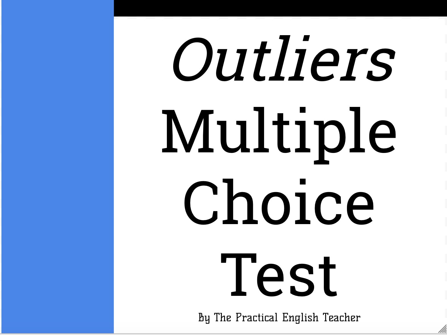 outliers multiple choice test w study guide questions  outliers multiple choice test w study guide 78 questions