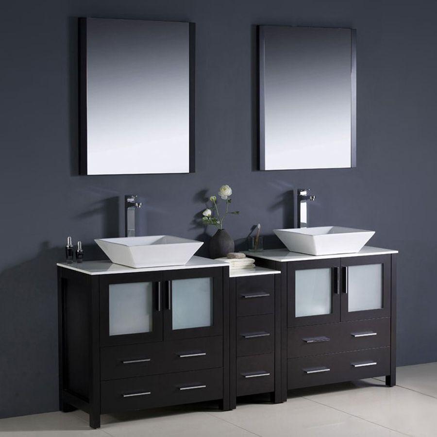 Fresca Bari Espresso 72 In Vessel Double Sink Bathroom Vanity with