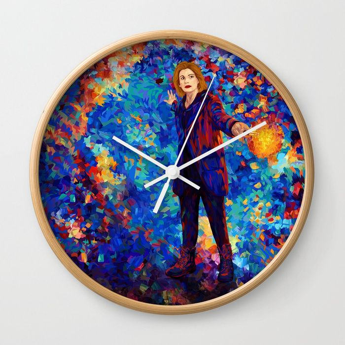 Beautiful 13th Doctor abstract art Wall Clock @pointsalestore @society6threesecond #wallclock #Painting #Digital #Oil #Watercolor #Streetart #Tardis #Doctorwho #Birthday #Jodiewhittaker  #Halloween #Vangogh #Starrynight #Abstract #Comic #Christmas #Science #Scifi #Cyberman #Dalek #Xmas