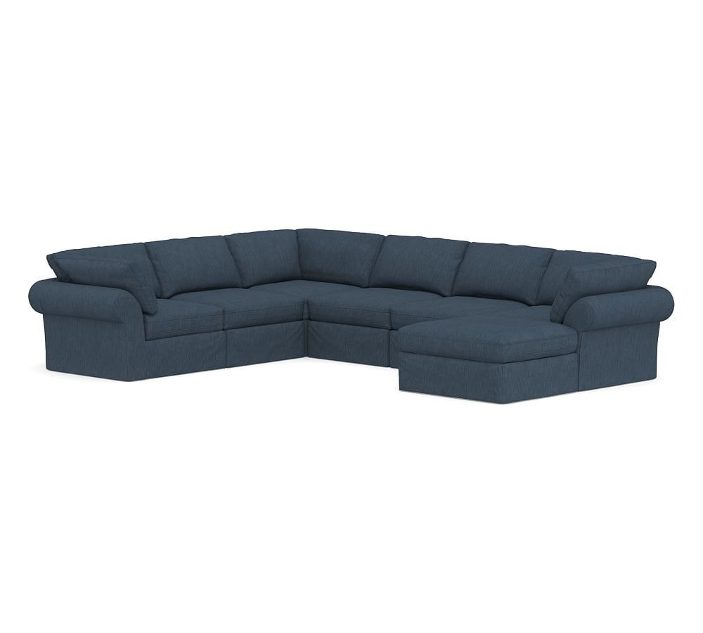 Astounding Pb Air Roll Arm Slipcovered 7 Piece Reversible Sectional Ocoug Best Dining Table And Chair Ideas Images Ocougorg