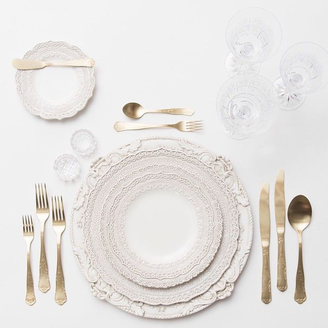 Antique White Florentine Chargers + White Lace Dinnerware + Chateau Flatware in Ch&agne Gold + Czech Crystal/Coupe Trios + Antique Crystal Salt Cu2026 ...  sc 1 st  Pinterest & Antique White Florentine Chargers + White Lace Dinnerware + Chateau ...