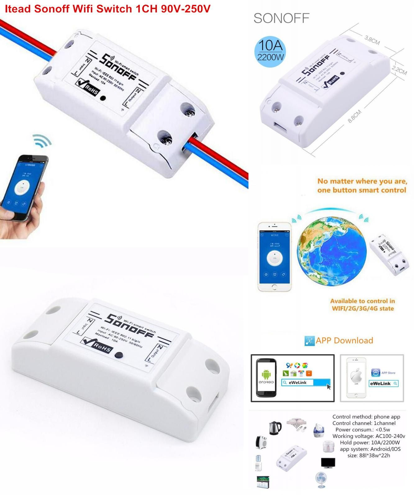 Visit To Buy Itead Sonoff Wifi Switch 1ch Diy Schakelaar 220v Ac 90v 250v Light Timer Switches For Smart H Smart Home Automation Lights Timer Home Automation