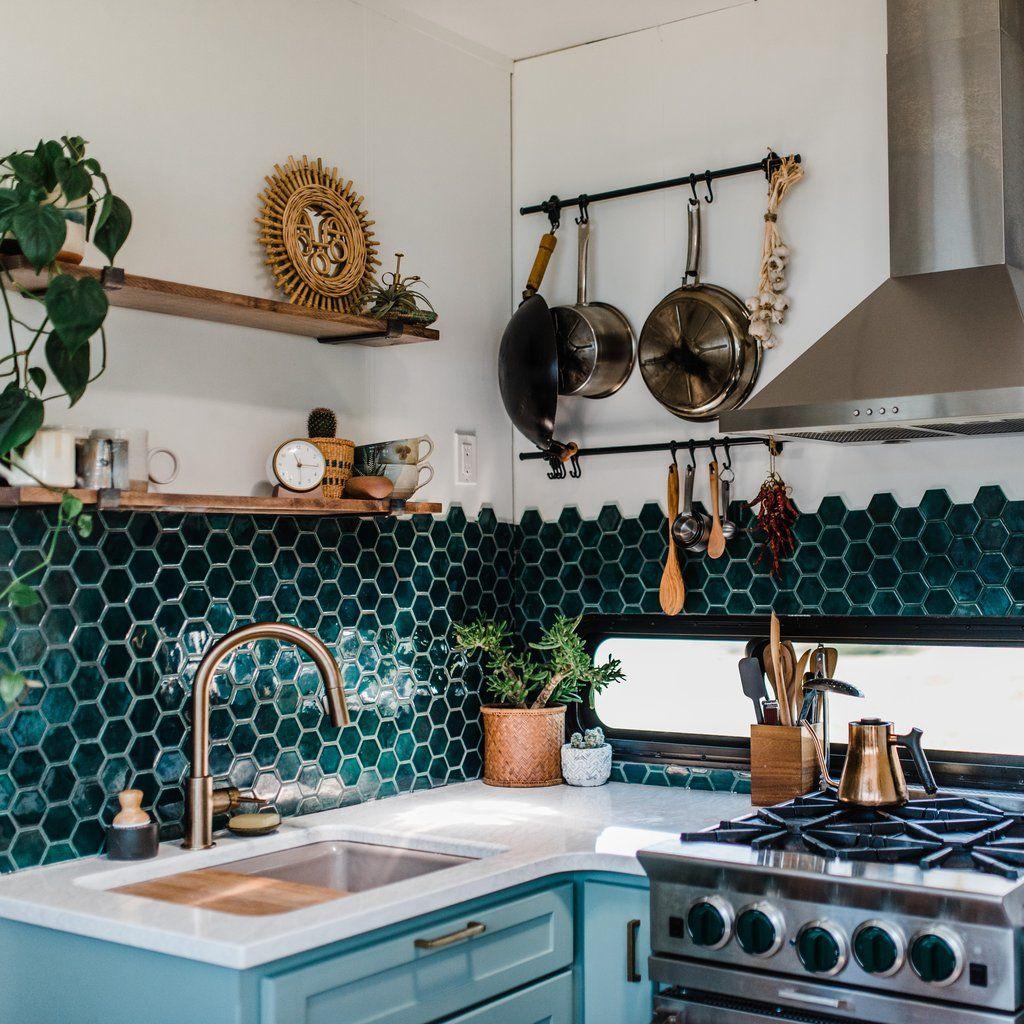 Bohemian Backsplash 188 Sqft Remodeled Rv Eclectic Kitchen
