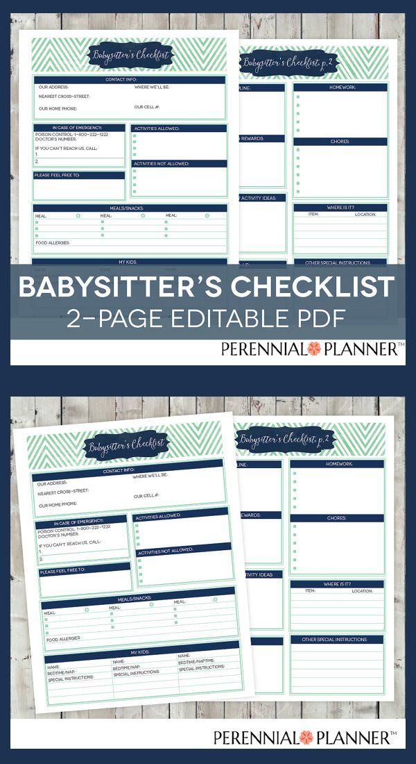 Babysitter\u0027s Checklist Printable EDITABLE - 2 Pages Instant Download
