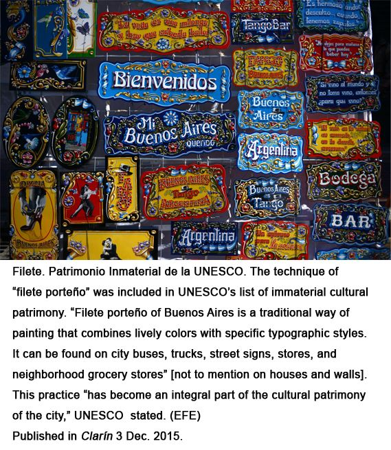 "The famous ""filete porteño"" recognized by the UNESCO"
