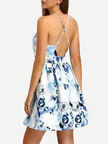 1dacb17f61 Blue Print In White Crisscross Pleated Skater Dress Pastel Blue Dress