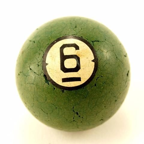 Vintage / Antique Clay Billiard Ball Green Number 6, Art Deco Pool Ball  (c.1910s) | Pool ball, Billiards, Vintage antiques