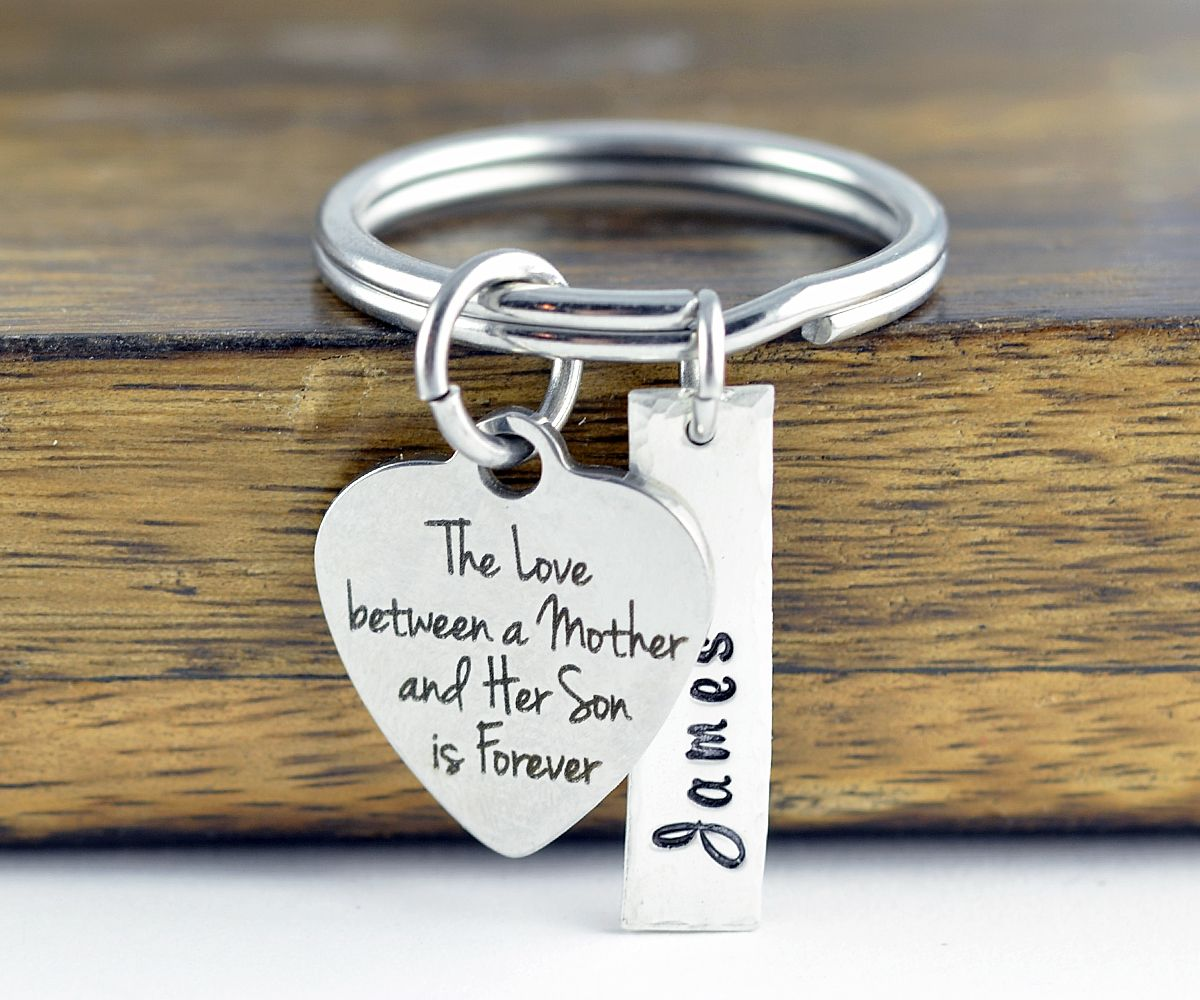 The love between a mother and her son is forever keychain mother