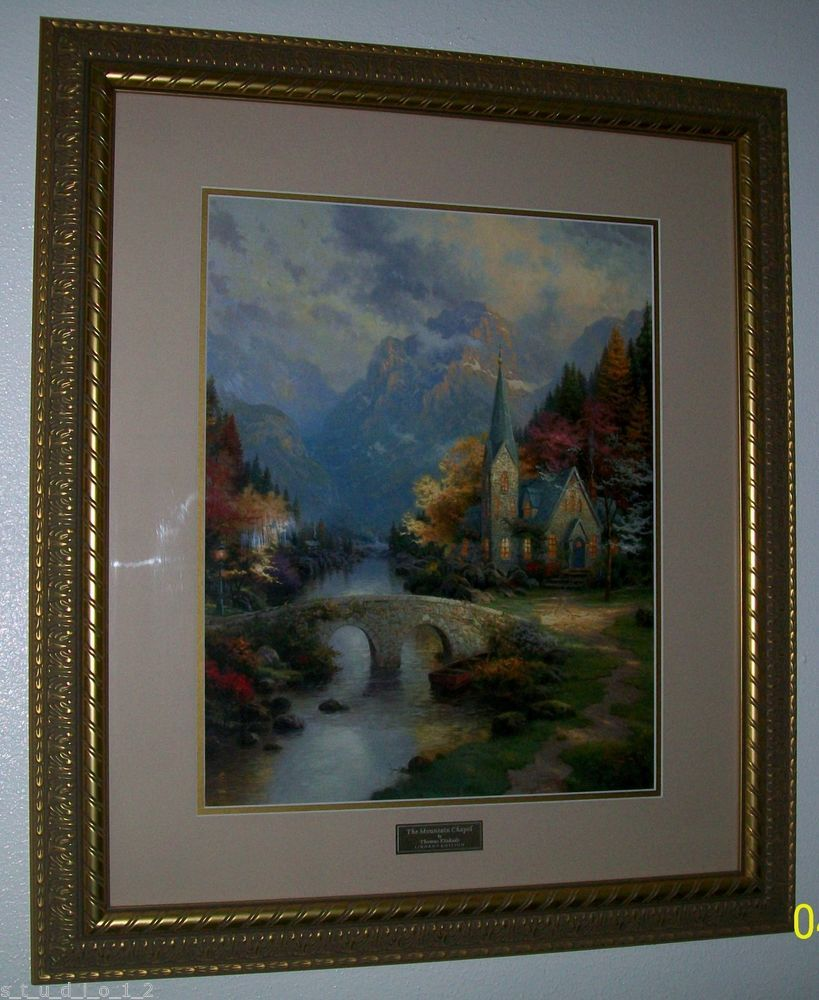 Rare Home Interior Framed Thomas Kinkade MOUNTAIN CHAPEL Library Edition  Picture