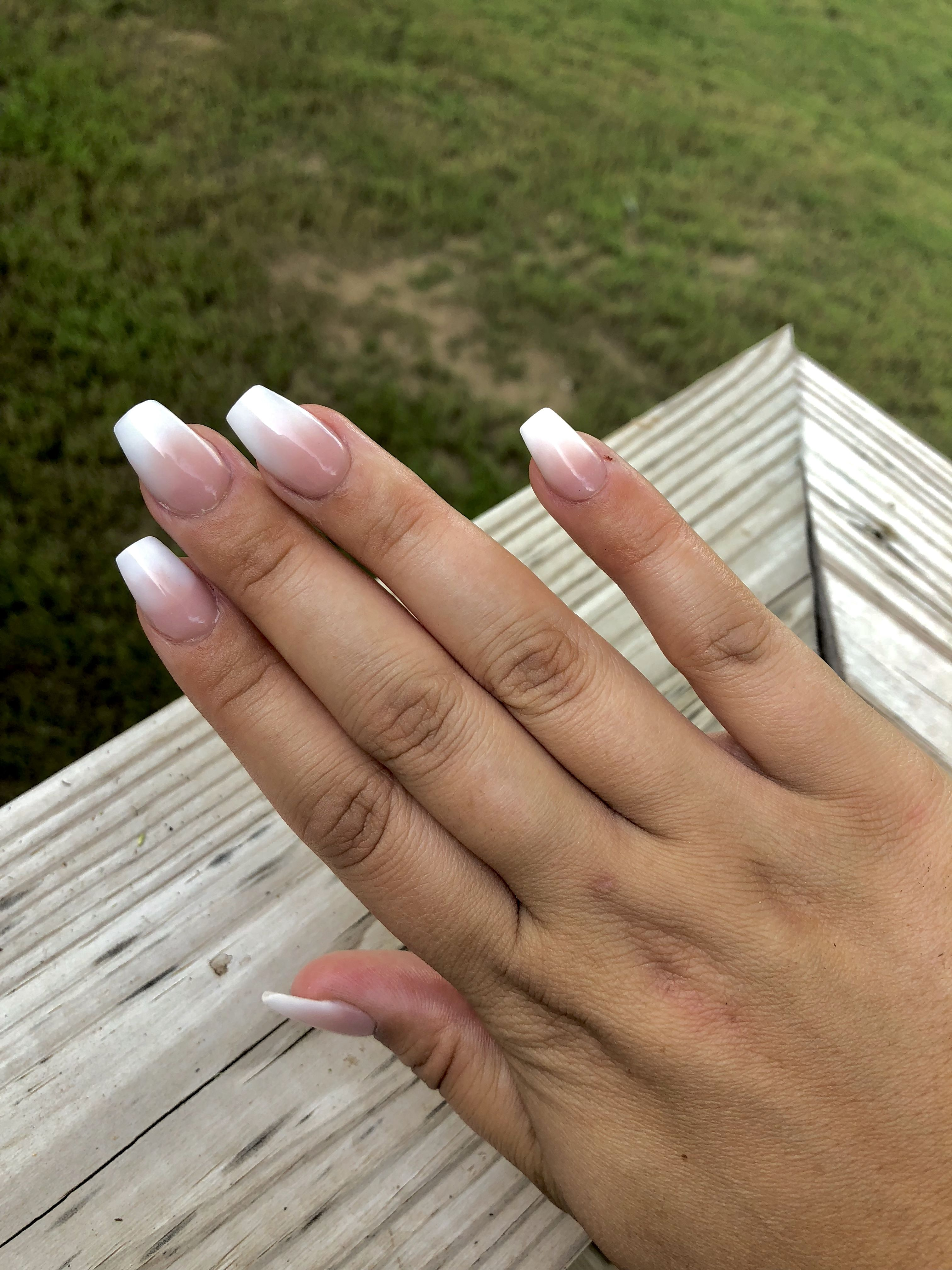 Coffin Acrylic Ombre Nails White Acrylic Powder On Bottom And Rose Gold Powder On Top Part I M So H Short Coffin Nails Fall Acrylic Nails Ombre Acrylic Nails