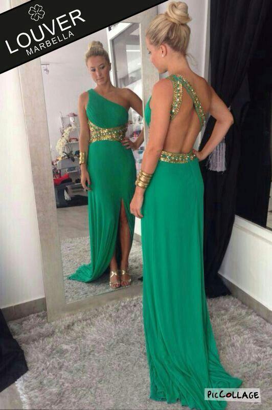 Vestidos de noche verde con dorado