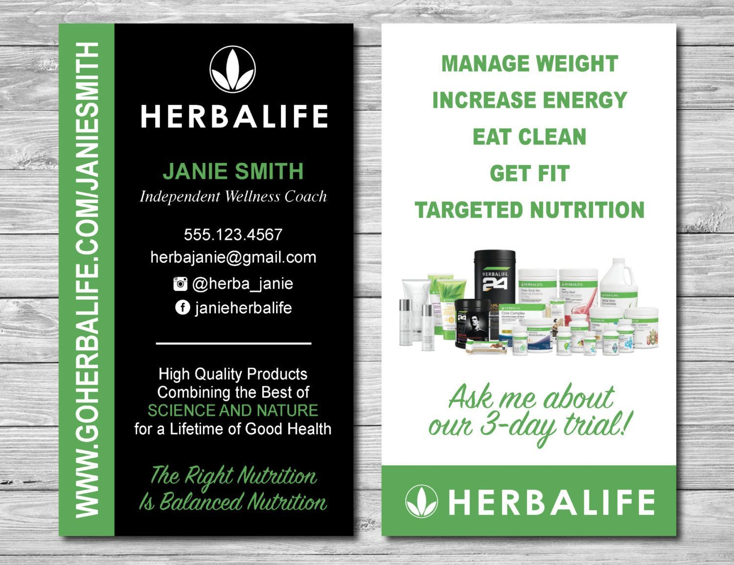 Herbalife Business Cards For Wellness Coach And Distributor By Kellibdesignstudio Herbalife Business Card Templates Herbalife Business Cards Herbalife Business