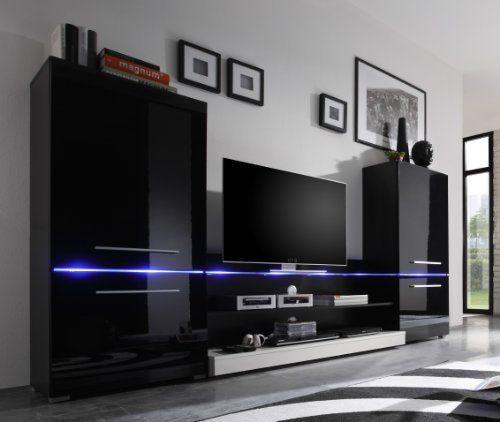 Wohnwand Anbauwand Flash in Schwarz Hochglanz mit LED Beleuchtung ...