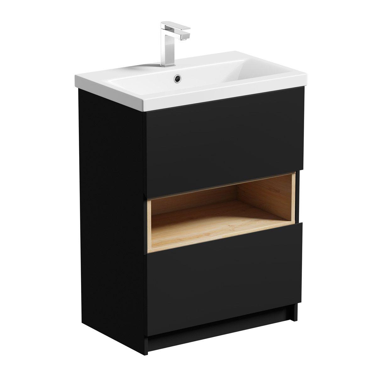 Mode Tate Anthracite Black Oak Floorstanding Vanity Unit And Ceramic Basin 600mm In 2020 Vanity Units Basin Vanity Unit Oak Vanity Unit