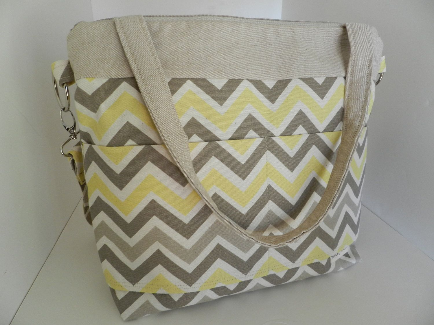 CAMERA Bag with / Removable Padded Photo gear Insert  in Yellow and Gray Chevron, diaper bag, purse,  messenger.   Darby Mack Designs. $99.00, via Etsy.