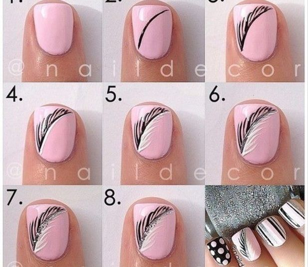 Step by step nail looks luuux nails pinterest easy makeup pink feather nails pink nails colorful nails nail art diy nails how to nail designs manicures nail tutorials prinsesfo Images