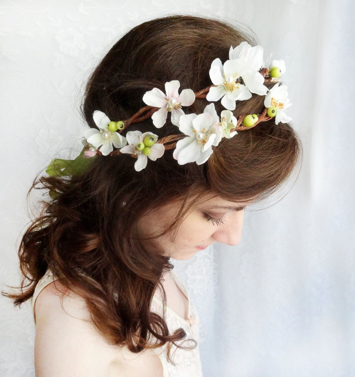 Floral Crown Rustic Wedding Headpiece White Bridal Hair