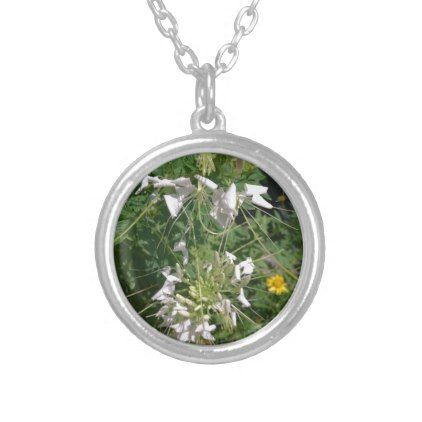 Snowy White Wild Flowers by JanLynn Silver Plated Necklace - jewelry jewellery unique special diy gift present