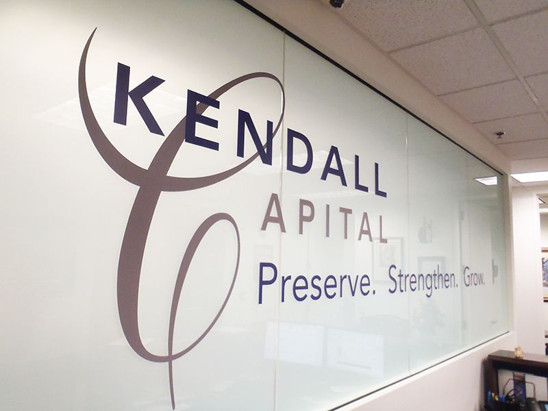 Custom Printed And Cut Vinyl Lettering On Frosted Glass In Office - Custom vinyl signage