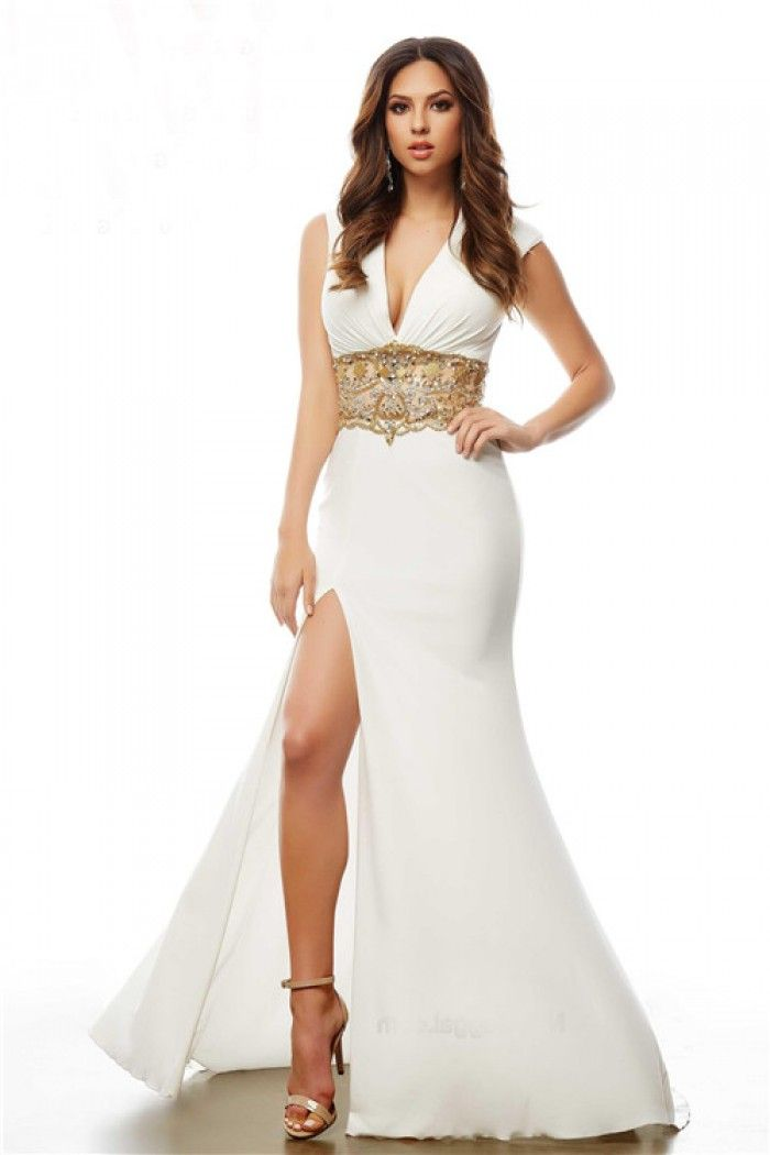 Sexy Deep V Neck Open Back White Jersey Gold Beaded Prom Dress ...