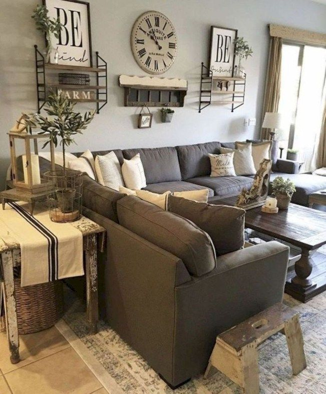48 Cool Farmhouse Living Room Decoration Ideas - HOOMDSGN #industrialfarmhouselivingroom
