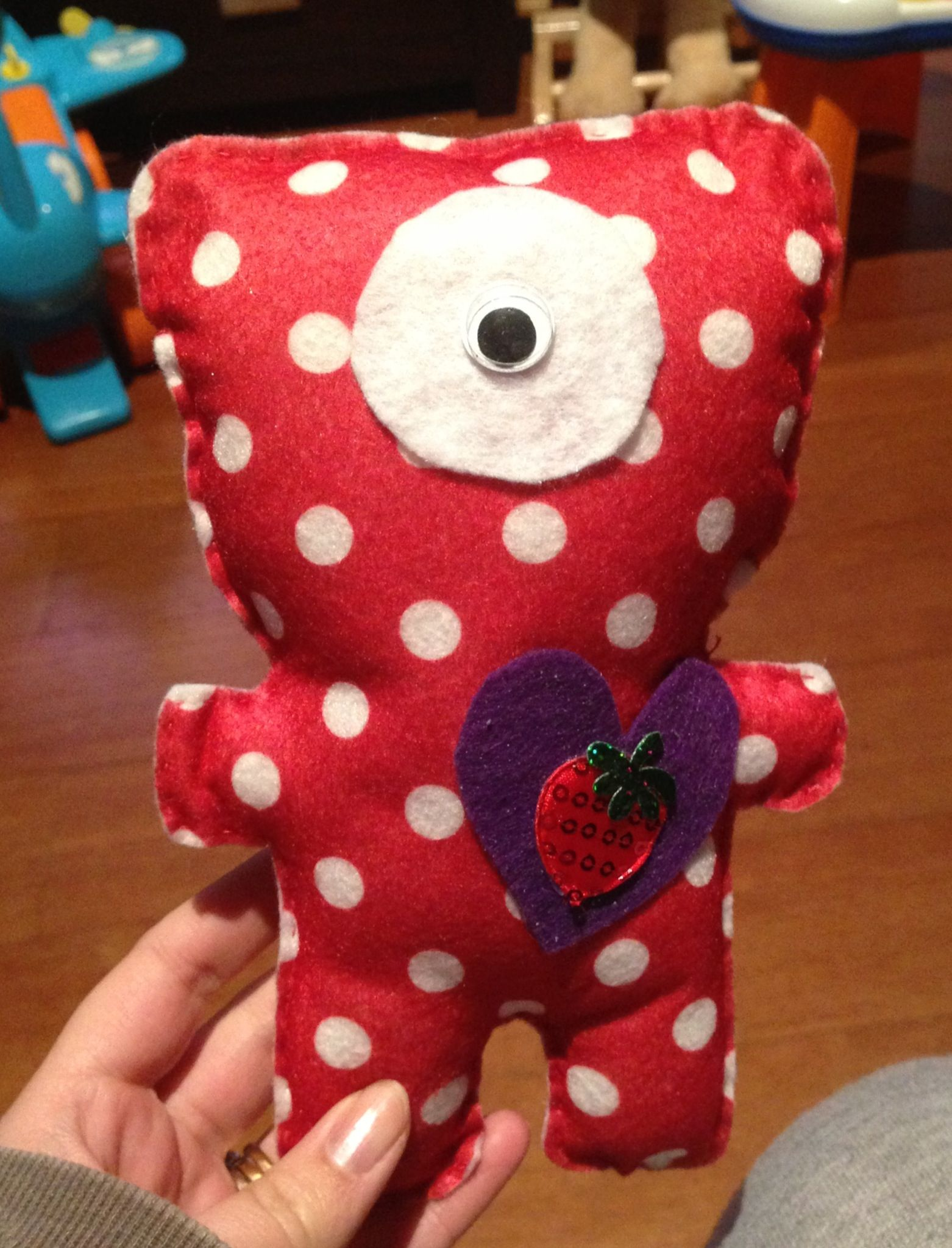 Polkadot felt monster with strawberry heart by Baby Blue Bows & Accessories