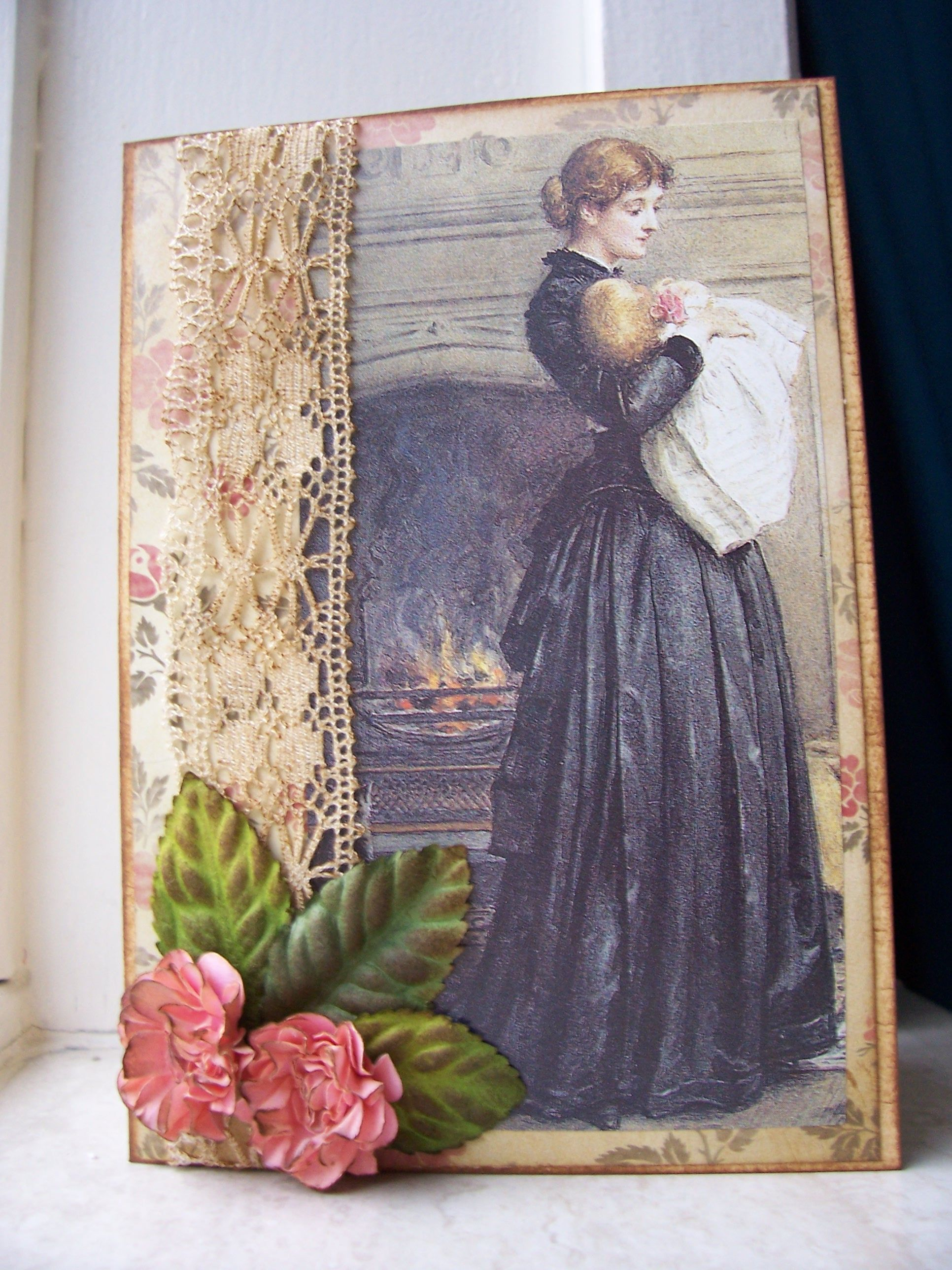 Card woman and baby with handmade paper flowers #vintage #distress #flowers