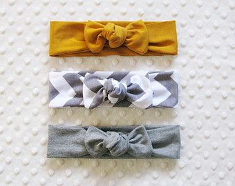 knotted headband gift set | bow style hairbands for baby and toddler | gold baby headband | gray toddler headband | fun baby shower gift