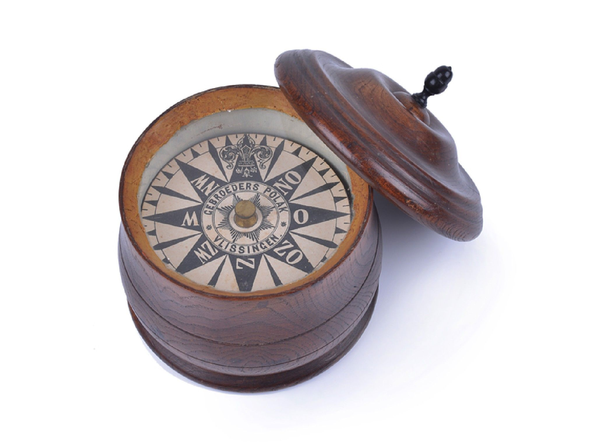 Early 19th-century Dutch dry card compass by Gebroeders Polak, Vilissingen