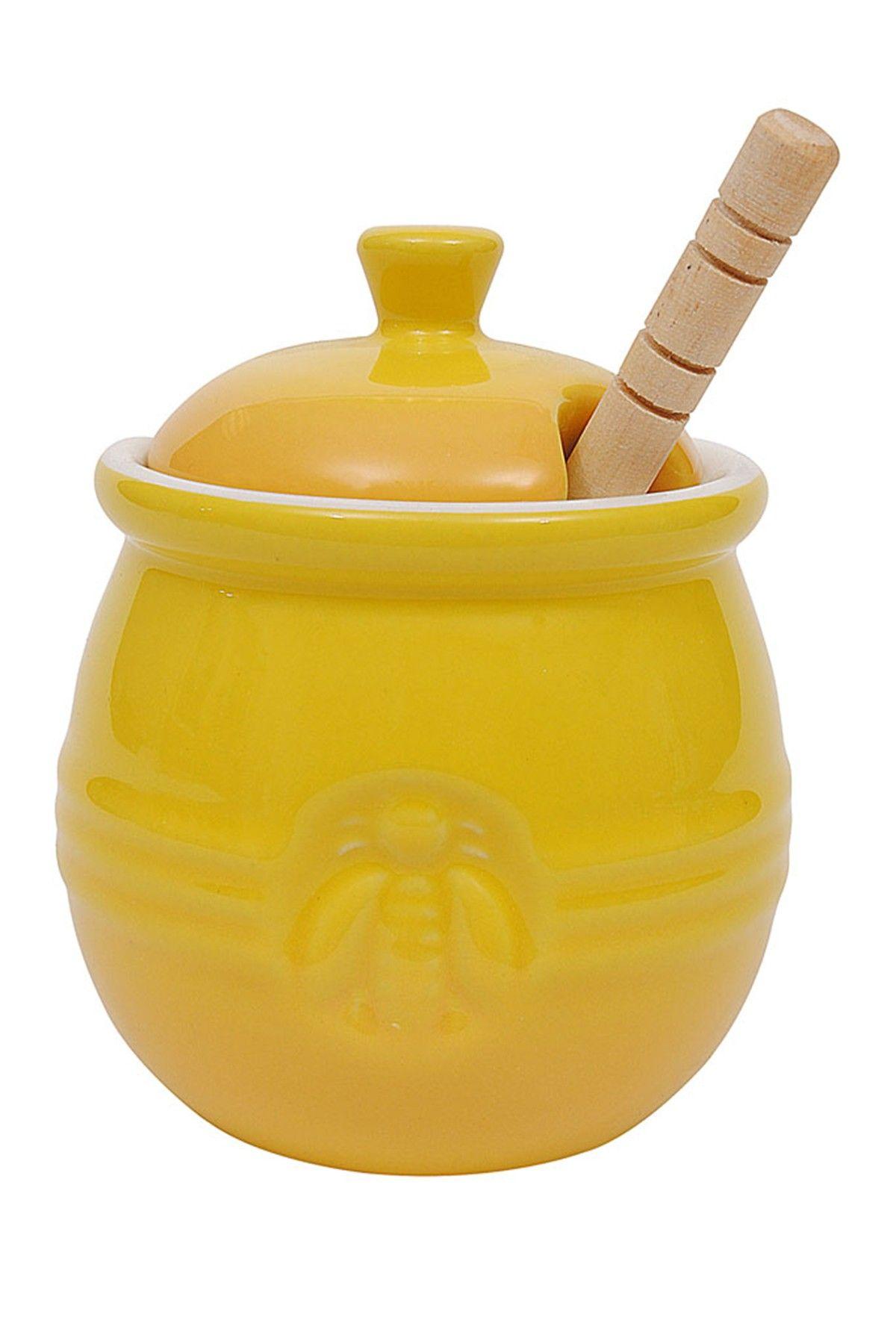Wood Honey Dipper & Stoneware Honey Pot 2-Piece Set by Creative Co ...