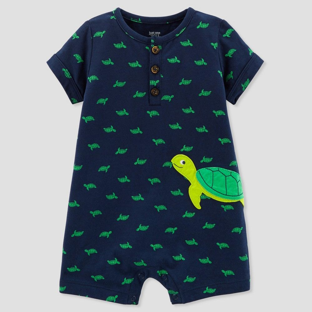 d14360693 Baby Boys' 1pc Turtle Henley Romper - Just One You made by carter's Navy  12M, Blue