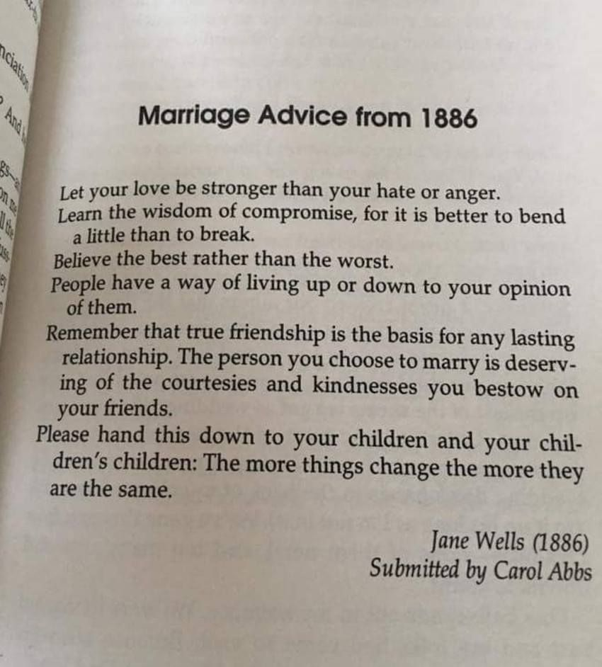 Marriage Advice Friendship Courtesy Bending And Children So True