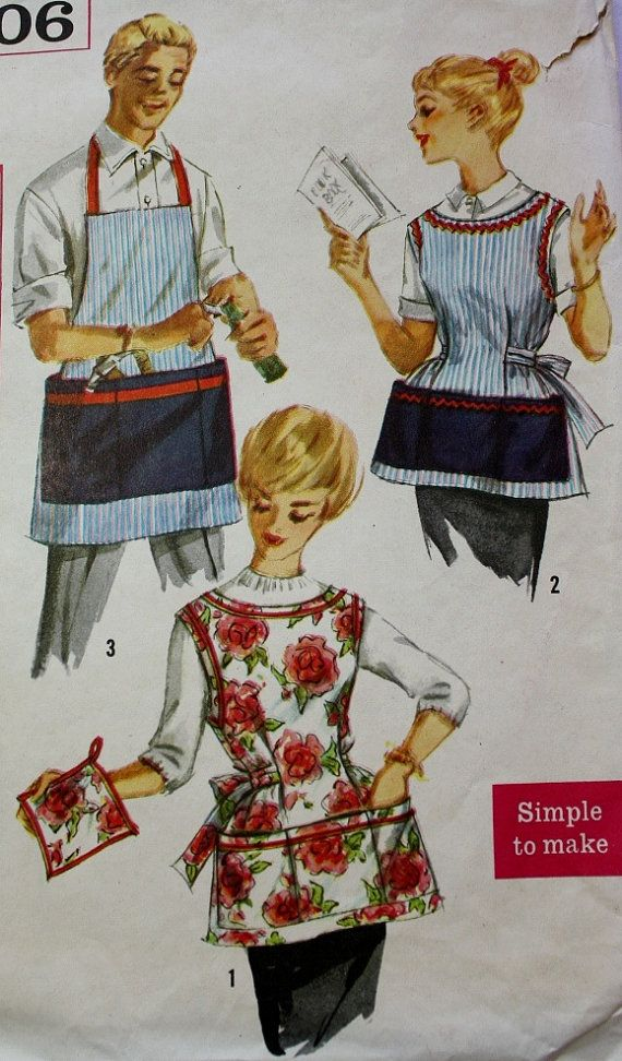 1950s Misses and Men\'s Apron and Pot by BluetreeSewingStudio, $6.75 ...